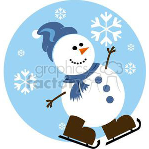 snowman ice skating clipart. Commercial use image # 381028