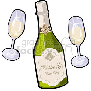 champagne bottle with glass for new years clipart. Royalty-free image # 381033