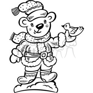 black and white Christmas bear clipart. Commercial use image # 381052