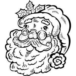 black and white Santa Claus clipart. Royalty-free image # 381087