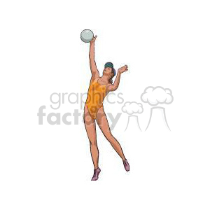 girl serving a volleyball clipart. Commercial use image # 381165