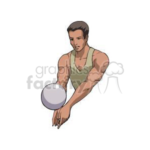 muscle man playing volleyball clipart. Commercial use image # 381194