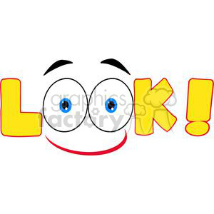 Smile-Yelow-Cartoon-Text-Look clipart. Commercial use image # 381239