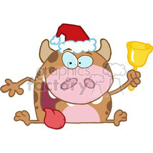 Happy-Calf-Character-Ringing-A-Bell-Christmas clipart. Royalty-free image # 381249