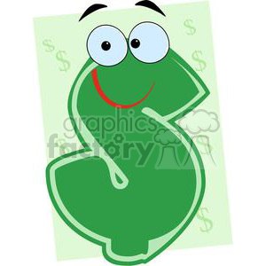 3635-Green-Dollar-Cartoon-Character clipart. Commercial use image # 381274