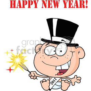 3737-New-Year-Baby-Cartoon-Callendar clipart. Commercial use image # 381284