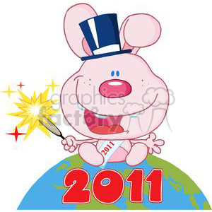 3836-New-Year-Baby-Rabbit-Above-The-Globe clipart. Royalty-free image # 381294