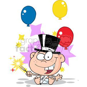New-Year-Baby-With-Fireworks-And-Balloons clipart. Commercial use image # 381299