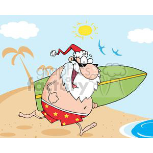 Santa-Running-On-A-Beach-With-A-Surfboard clipart. Commercial use image # 381319