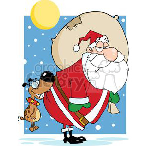 3857-Dog-Biting-A-Santa-Claus clipart. Royalty-free image # 381324