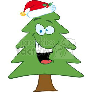Cartoon-Chrictmas-Tree-With-Santa-Hat clipart. Commercial use image # 381329