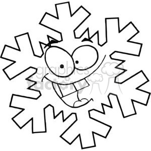 cartoon funny Christmas Xmas Holidays vector illustrations snowflakes snowflake black white