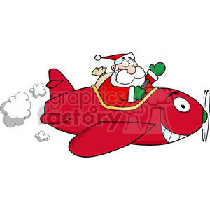 Santa-Flying-With-Christmas-Plane clipart. Royalty-free image # 381344