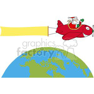 Santa-Flying-With-Christmas-Plane-AndA-Blank-Banner-Attached-Above-The-Globe clipart. Royalty-free image # 381349