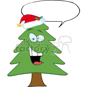 Cartoon-Chrictmas-Tree-With-Santa-Hat-And-Speech-Bubble clipart. Commercial use image # 381359