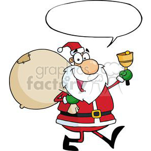 Santa-Claus-Waving-A-Bell-With-Speech-Bubble clipart. Commercial use image # 381364