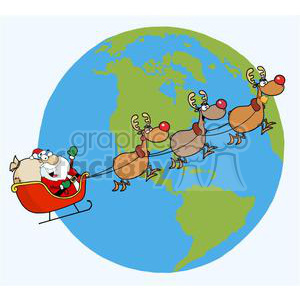 3838-Santa-Waving-And-Flying-Above-Earth clipart. Royalty-free image # 381369