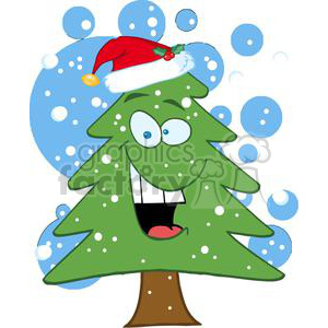3775-Cartoon-Chrictmas-Tree-With-Santa-Hat clipart. Commercial use image # 381384