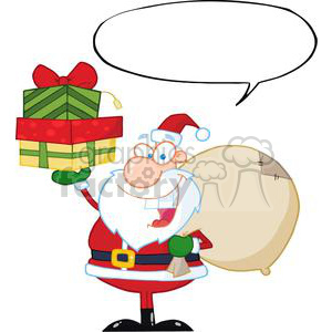 Santa-Holding-Up-A-Stack-Of-Gifts-With-Speech-Bubble clipart. Commercial use image # 381404