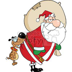 3856-Dog-Biting-A-Santa-Claus clipart. Royalty-free image # 381409