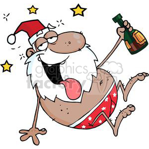 cartoon funny Christmas Xmas Holidays vector illustrations Santa Claus drunk drinking hobo
