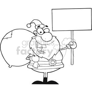Jolly-Christmas-Santa-Holding-A-Blank-Sign clipart. Royalty-free image # 381419
