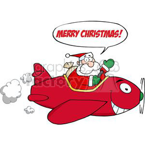 3712-Santa-Flying-With-Christmas-Plane clipart. Commercial use image # 381424