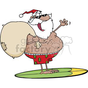 African-American--Santa-Claus-Carrying-His-Sack-While-Surfing clipart. Royalty-free image # 381429