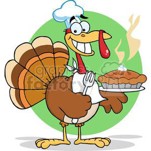 3530-Happy-Turkey-Chef-With-Pie clipart. Royalty-free image # 381439