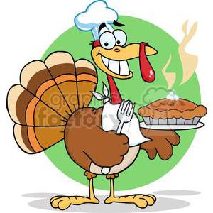 3530-Happy-Turkey-Chef-With-Pie
