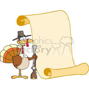 Happy-Turkey-With-Pilgrim-Hat-and-Musket-And-Scroll clipart. Royalty-free image # 381444
