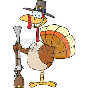 3519-Happy-Turkey-With-Pilgrim-Hat-and-Musket clipart. Commercial use image # 381449