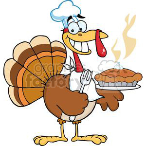 3528-Happy-Turkey-Chef-With-Pie clipart. Royalty-free image # 381459