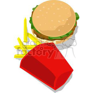 hamburger and fries clipart. Commercial use image # 140814