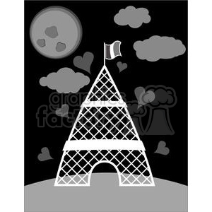 Eiffel Tower Paris France Europe architecture building buildings night dark rg