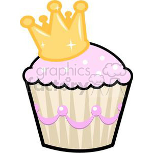 pink cupcake with a crown clipart. Commercial use image # 381649