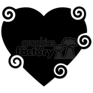 black swirled heart clipart. Commercial use image # 381664