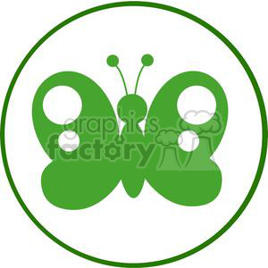 4129-Green-Butterfly-Silhouette-In-Circle clipart. Commercial use image # 381951