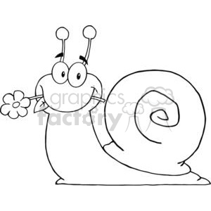 4085-Happy-Cartoon-Snail-With-A-Flower-In-Its-Mouth clipart. Commercial use image # 381961