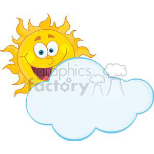 4043-Happy-Sun-Mascot-Cartoon-Character-Hiding-Behind-Cloud clipart. Royalty-free image # 381966