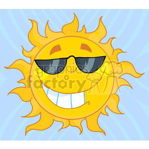 4041-Smiling-Sun-Mascot-Cartoon-Character-With-Sunglasses clipart. Royalty-free image # 381991