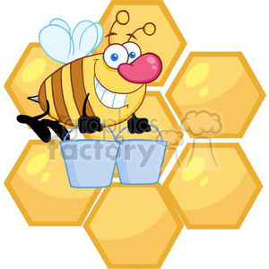4107-happy-honey-bee-flying-with-a-buckets-in-front-of-a-orange-bee-hives