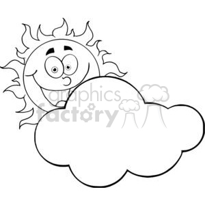4042-Happy-Sun-Mascot-Cartoon-Character-Hiding-Behind-Cloud