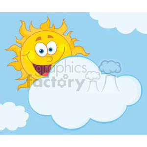 4044-Happy-Sun-Mascot-Cartoon-Character-Hiding-Behind-Cloud clipart. Royalty-free image # 382051