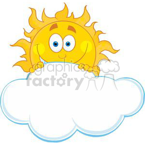 4051-Happy-Sun-Hiding-Behind-Cloud clipart. Royalty-free image # 382056