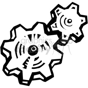 black and white gears clipart. Commercial use image # 384943