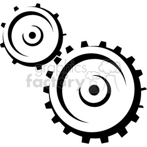 black and white cogs clipart. Commercial use image # 385023