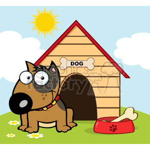 12820 RF Clipart Illustration Smiling Brown Bull Terrier With A Bone In His Dish Outside His Dog House clipart. Commercial use image # 385073