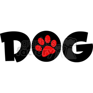 12810 RF Clipart Illustration Dog Text With Red Paw Print clipart. Royalty-free image # 385083