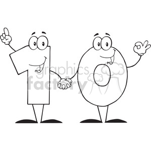 12837 RF Clipart Illustration Number Ten Cartoon Character clipart. Royalty-free image # 385093